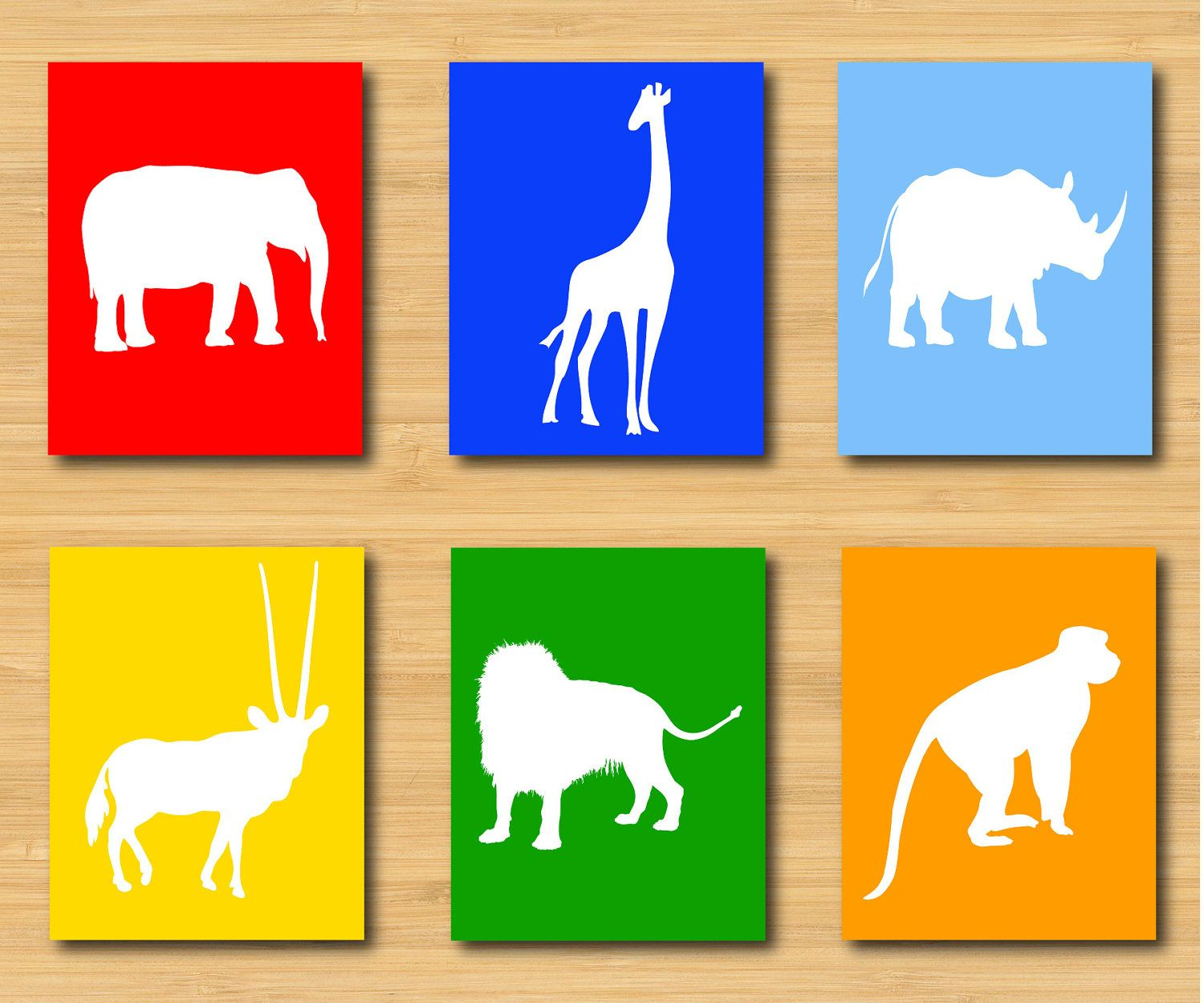 Printable Safari Animals Nursery Art - Wall Art - Children\'s Art - 8 ...