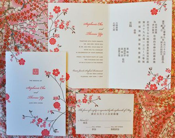 Add a note of festivity to the entire wedding card invitations other symbols utilized in the design of chinese wedding invitations are represented by the legendary phoenix bird which is know to be re born from its own stopboris Image collections