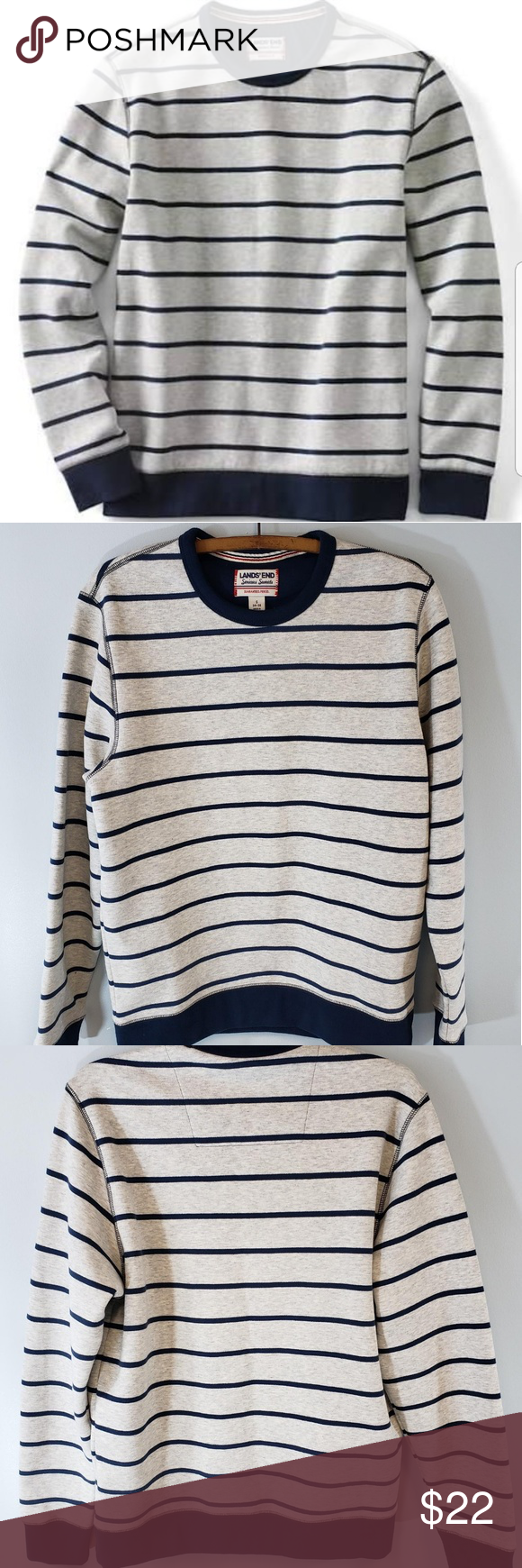 Lands End Serious Sweats Striped Pull Over Mens Clothes Design Striped Sweatshirt Shirt [ 1740 x 580 Pixel ]
