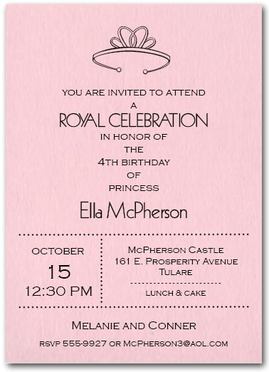 Princess Tiara Birthday Party Invitations from TheInvitationShop - bridal shower invitation samples