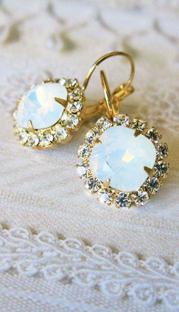 Opal Estate Style Vintage Earrings Wedding Jewelry White