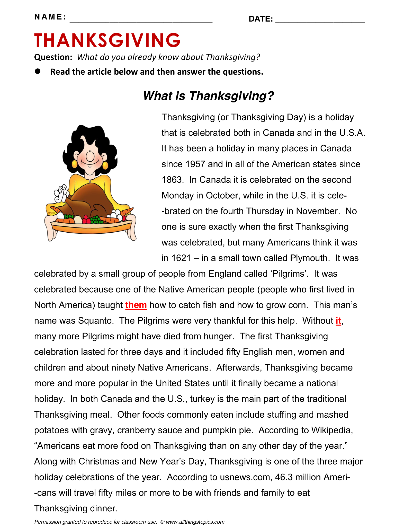 Thanksgiving English Learning English Vocabulary Esl English Phrases Http Www Allthingstopics Com Thanksgivin Learn English English Reading Esl Reading [ 2048 x 1536 Pixel ]