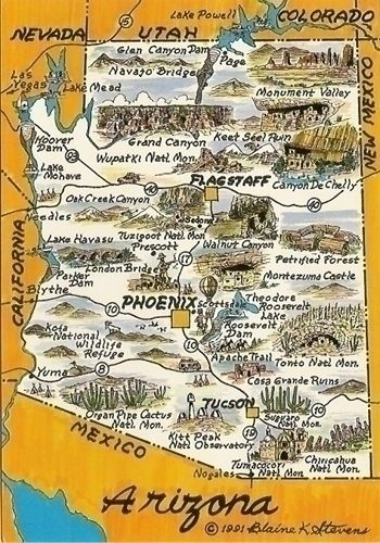 Map Of Southwest Arizona.Arizona Love A Good Collage Map Infographic Arizona Travel