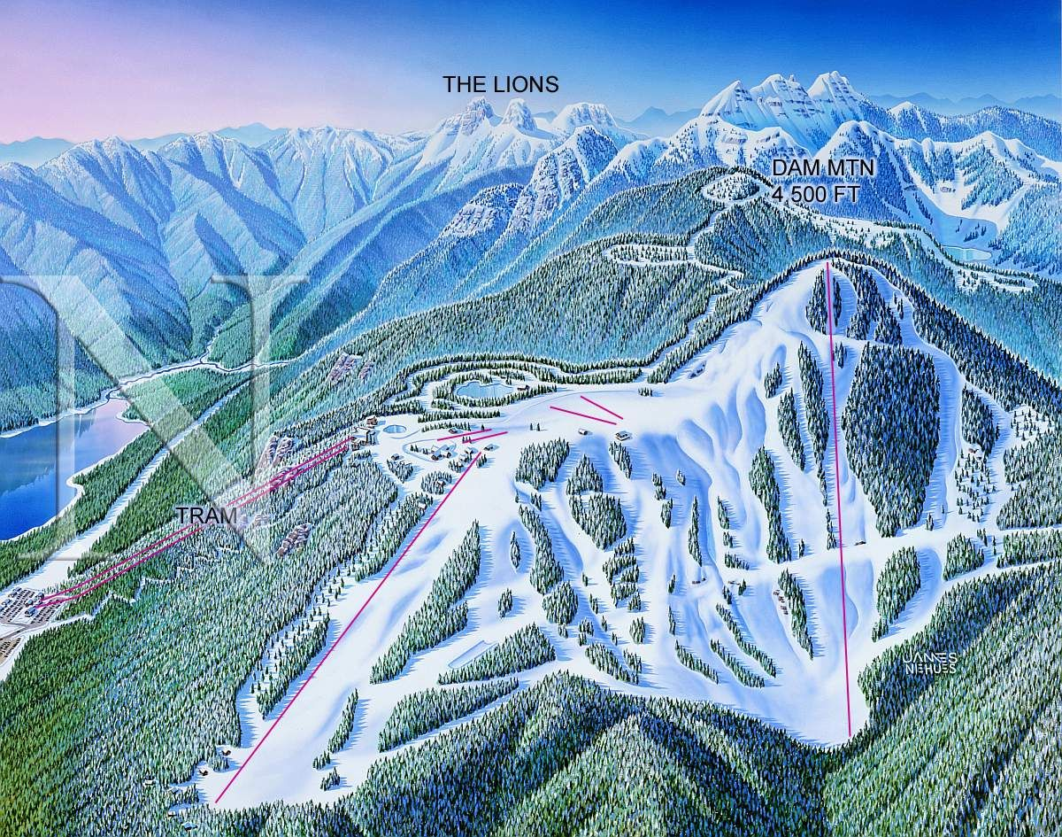 Grouse Mountain Canada James Niehues Map Artist Ski Maps Regional Maps Mountain Landscape Grouse Mountain Country Maps