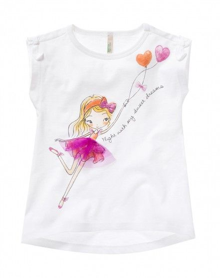 t shirt with bows white benetton fashion mode kids. Black Bedroom Furniture Sets. Home Design Ideas