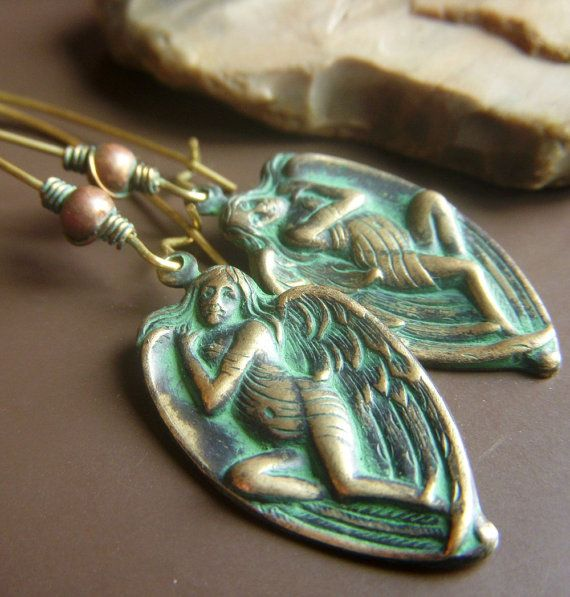 Patina Angel Earrings on Brass  Verdigris Green Hand by beadstylin