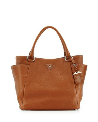 Daino Side-Pocket Tote Bag, Medium Brown (Brandy) by Prada at Bergdorf Goodman. $1595