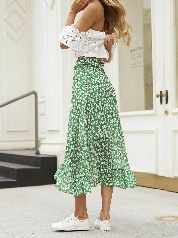 Women's Burnout Maxi Skirt - Ladies Summer Boho Bohemian 51% Cotton Light Floaty Ditsy Pattern Elast