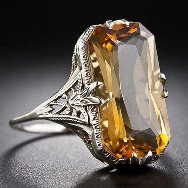 Contemporary Citrine lemon ring big citrine Silver ring size 7