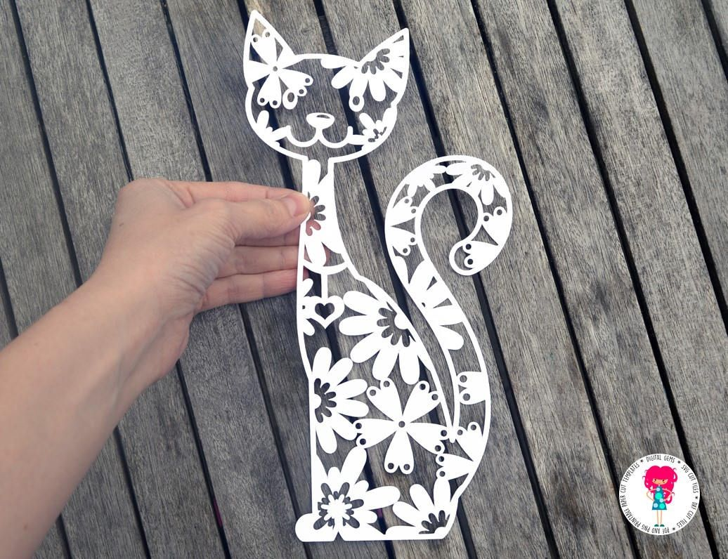 Digital download. Cat bundle svg  dxf  eps  png files and pdf print out templates for hand cutting Cat lover paper cut designs