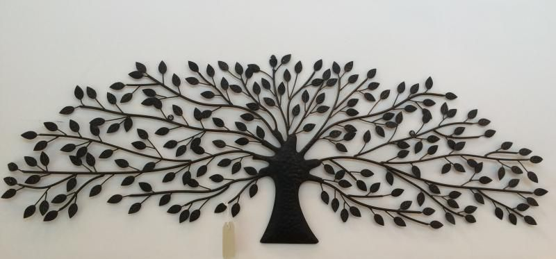 Antiqued brown bronze coloured metal tree wall art fabulous hanging on a conservatory wall