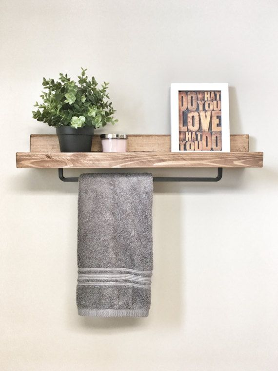 Free Shipping Wood Towel Rack Shelf Ledge Shelves Wooden Etsy Farmhouse Towel Bars Shelves Floating Shelves Bathroom