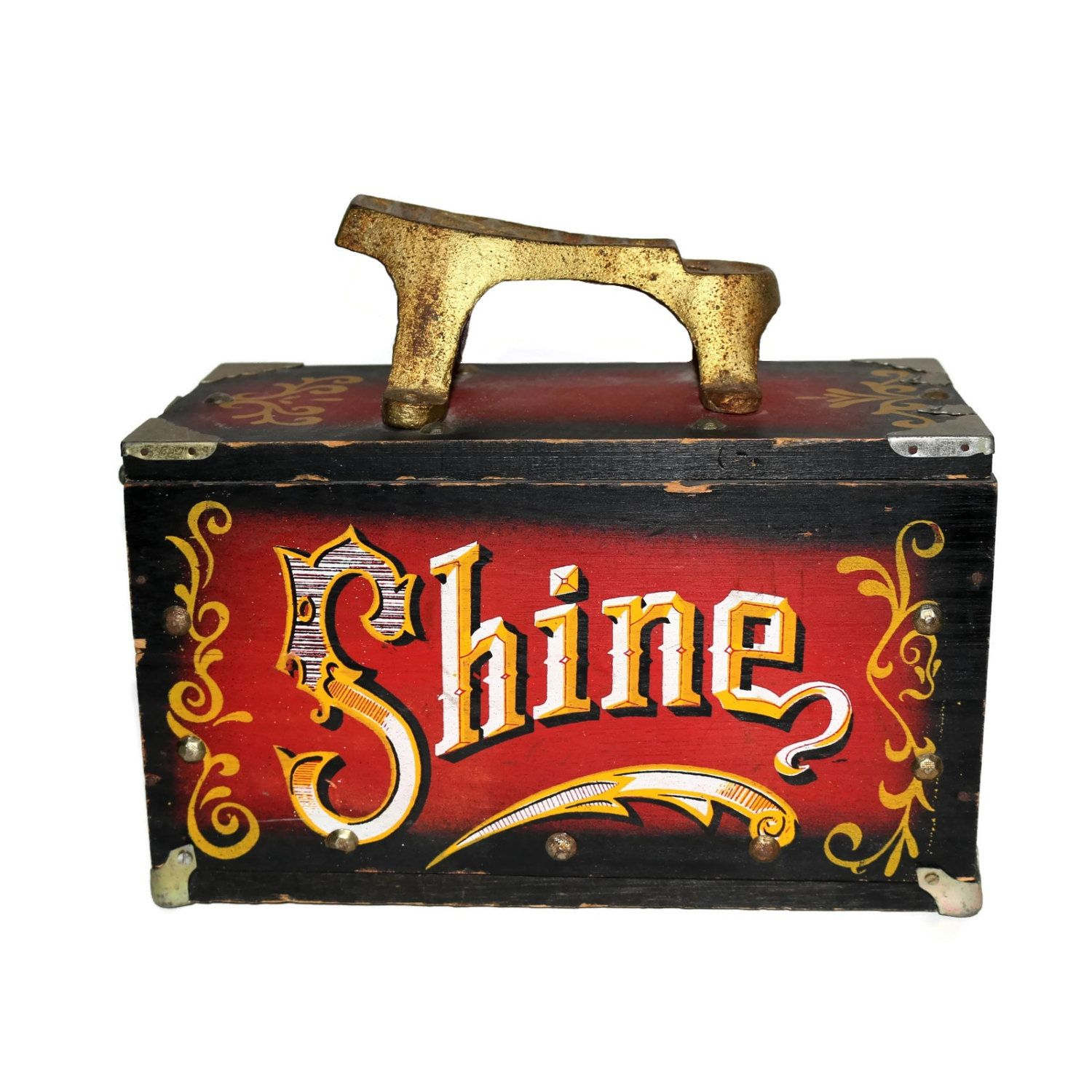 Old Fashioned Shoe Shine Box with Brass Foot Rest and Decorative Nostalgic Lettering Typography