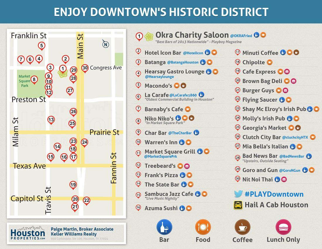 Downtown Houston Nightlife Map Best Downtown Restaurants Bars