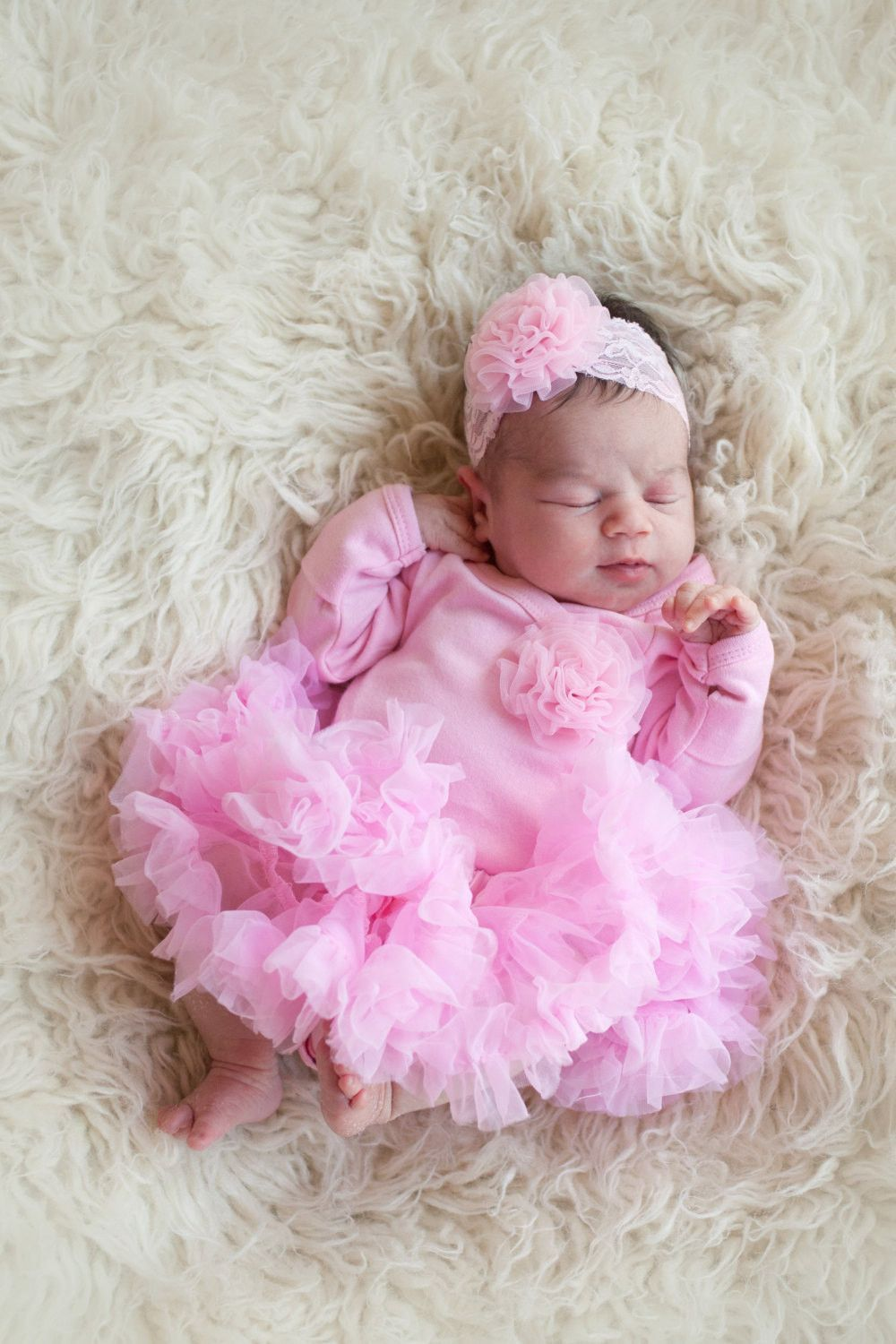 ad7c33412fc3 Newborn Girls Take Home Outfit Pink Bodysuit with Rosette Poof Headband and  Pettiskirt