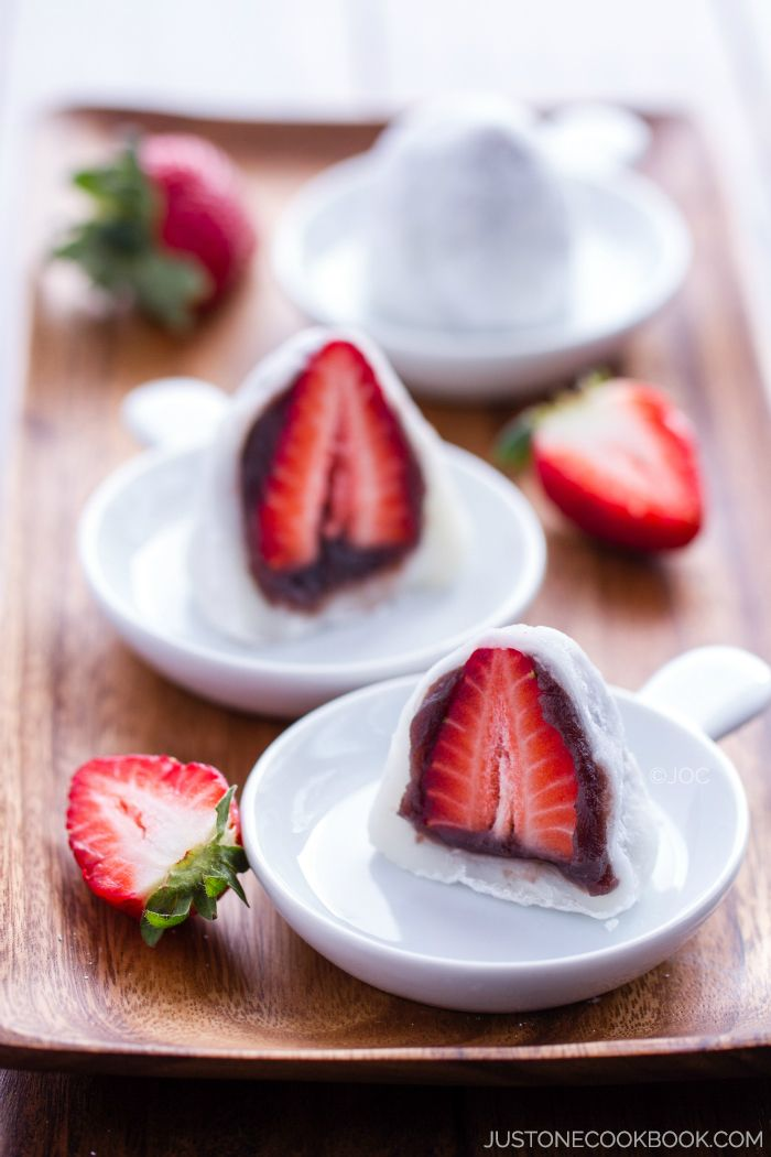 A popular spring dessert, Strawberry Mochi (Ichigo Daifuku) is a soft and chewy mochi stuffed with fresh juicy strawberry and sweet red bean paste.