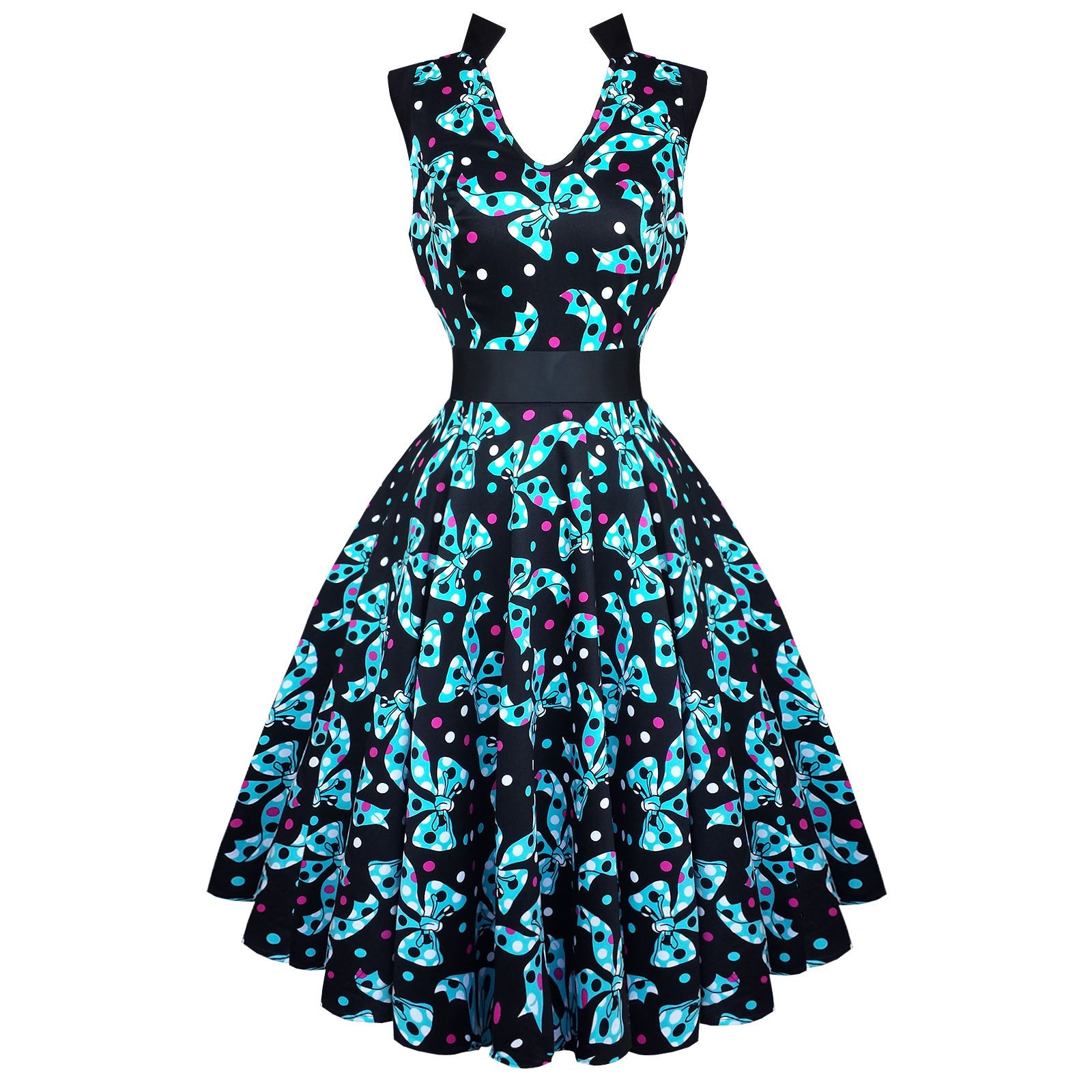 Hearts and Roses London Kitsch Blue Bow 50s Vintage Tea Party Dress ...