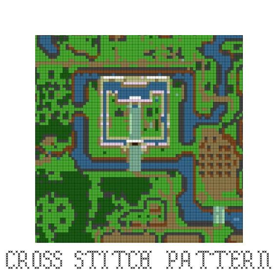 Link To The Past Light World Map.Legend Of Zelda Cross Stitch Pattern Light World Map Link To The