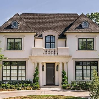 Stucco French Home With Balcony Transitional Home