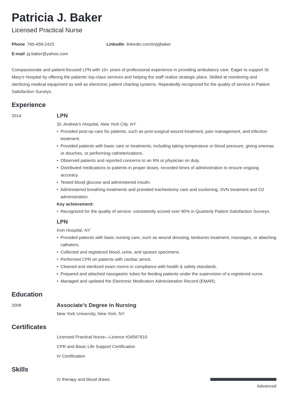 lpn resume example template minimo in 2020 Lpn resume