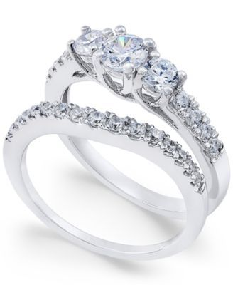 Diamond Bridal Three Stone Ring Set 1 Ct T W In 14k White Gold