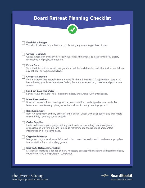 Board Retreat Planning Checklist  The Event Group And Board Book