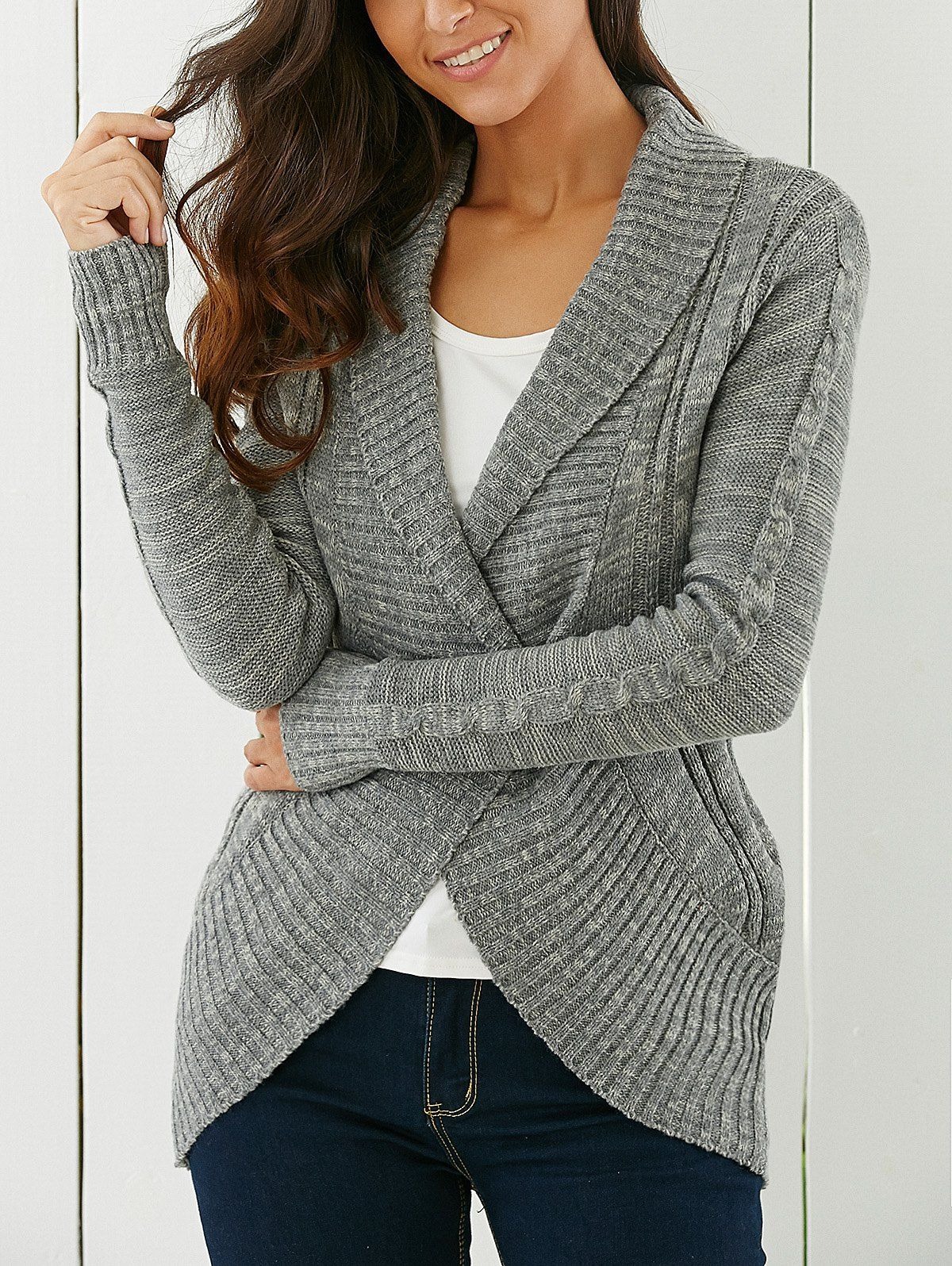 One Button Shawl Collar Cardigan | Shawl, Cable and Stylish