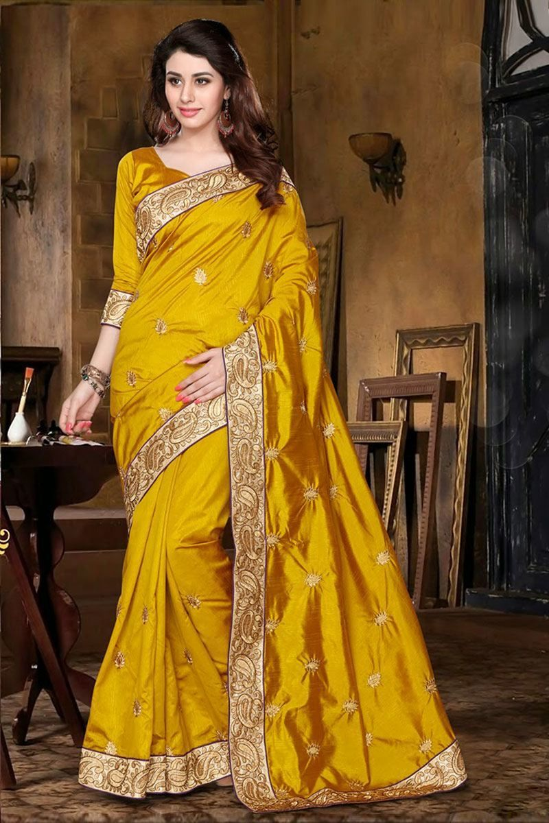 2bab900f2d9b3a golden color Embroidery work Partywear silk saree Only RS 1500 ...