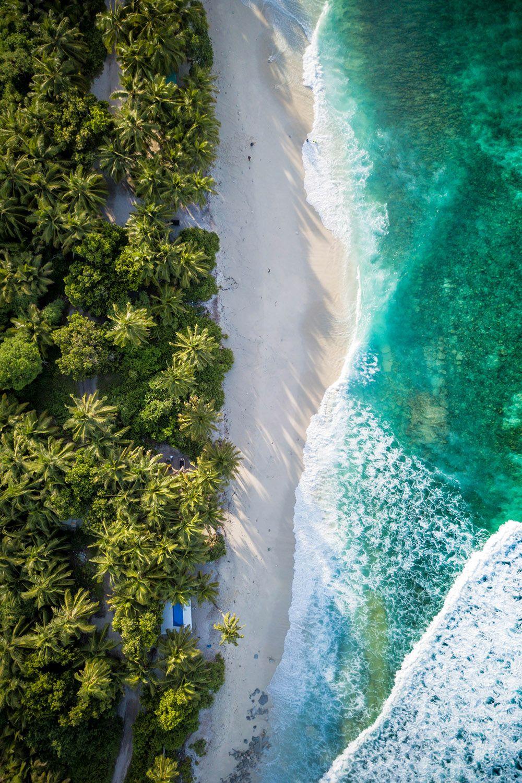 Maldives Fuvahmulah Beach Wallpaper Ocean Wallpaper Aerial View