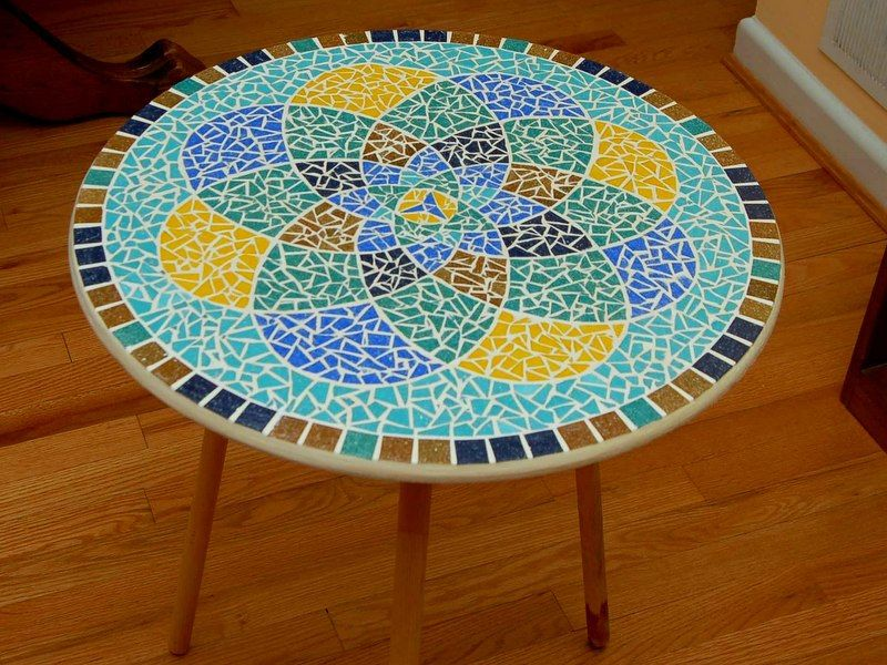 Blue Gold Teal Mandala Glass Mosaic Table Top
