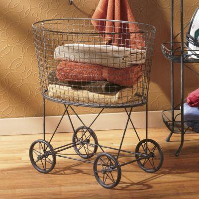 Vintage Style Rolling Laundry Cart Laundry Cart Vintage Laundry