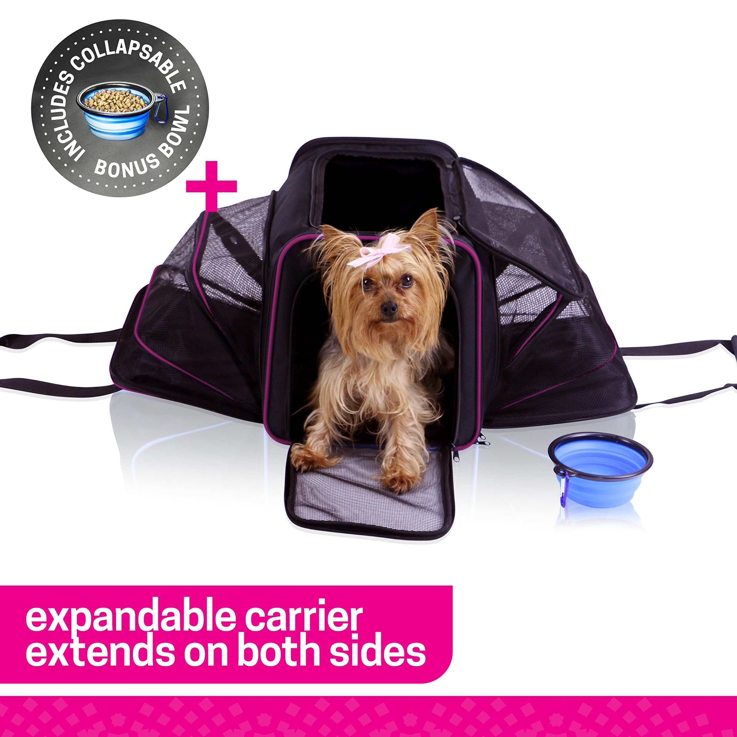 c183286b42 Ruff n Ruffus Dual Expandable Soft Pet Carrier FREE BOWL Airline Approved  Safe for use as pet Car Seat For Dogs Cats and Small Pets Two Sided  Expandable ...