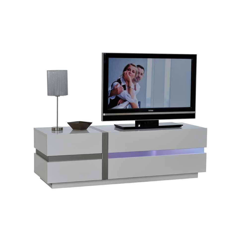 TV Lowboard mit LED Wechsellicht Beleuchtung Weiß Jetzt bestellen ...
