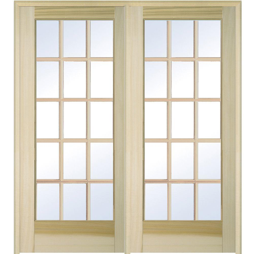 Milliken Millwork 62 In X 81 75 In Classic Clear Glass 15 Lite Unfinished Poplar Wood Inter Glass Barn Doors Prehung Interior French Doors Glass French Doors