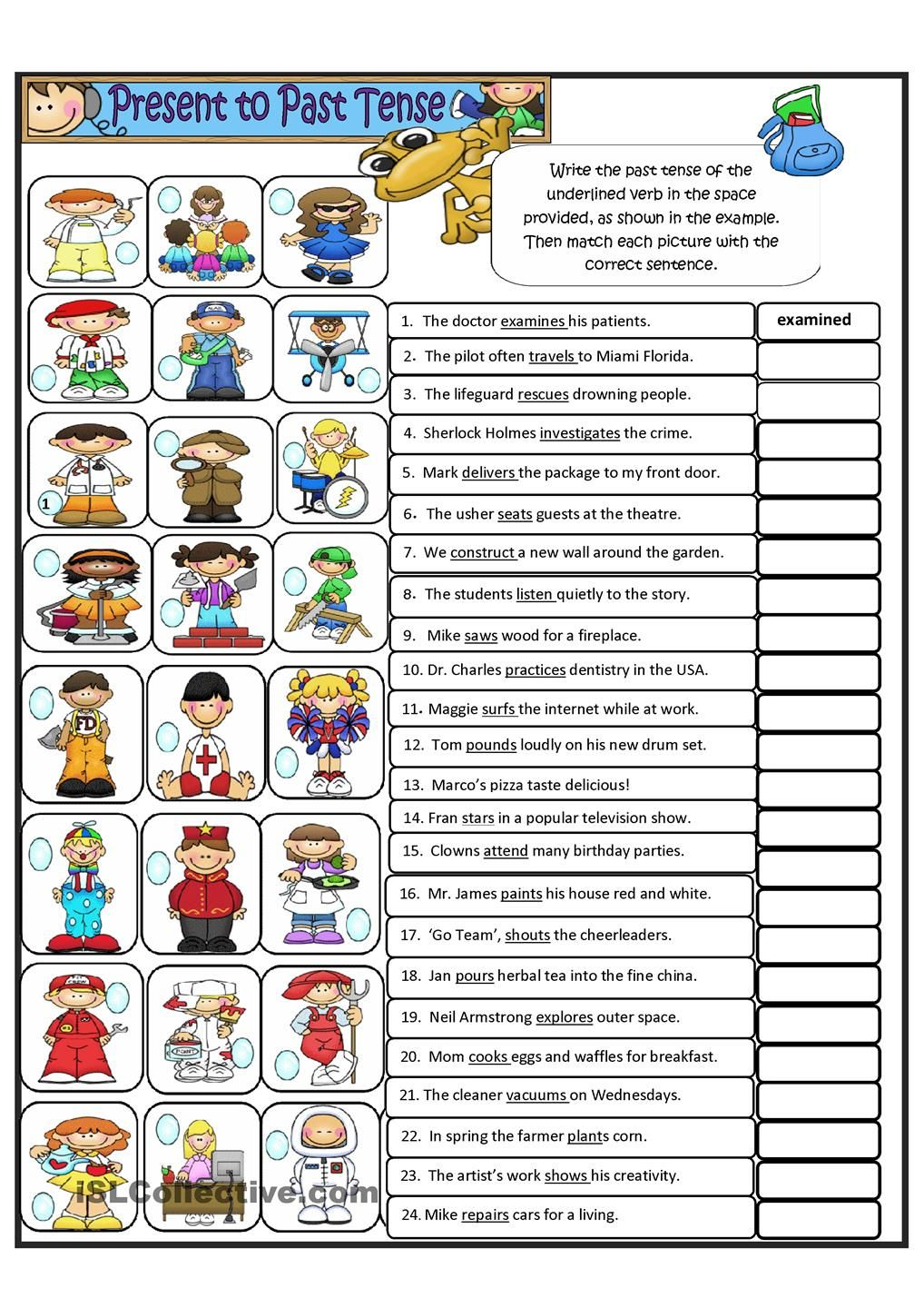 worksheet Regular Past Tense Worksheets simple present tense to past regular verbs verbs