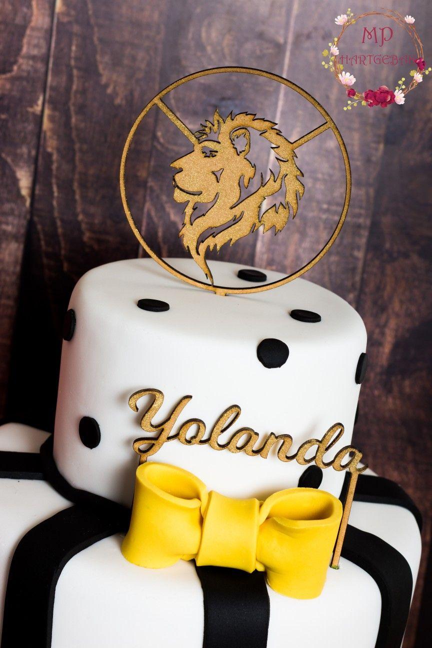 Black white yellow ribbon lion cake chocolate lion