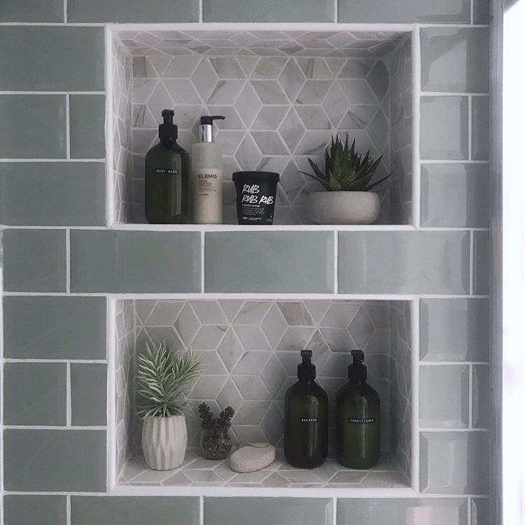 Built in tiled shower shelves. Modern metro and hexagon tiles, recessed bathroom box shelf #bathroomtileshowers