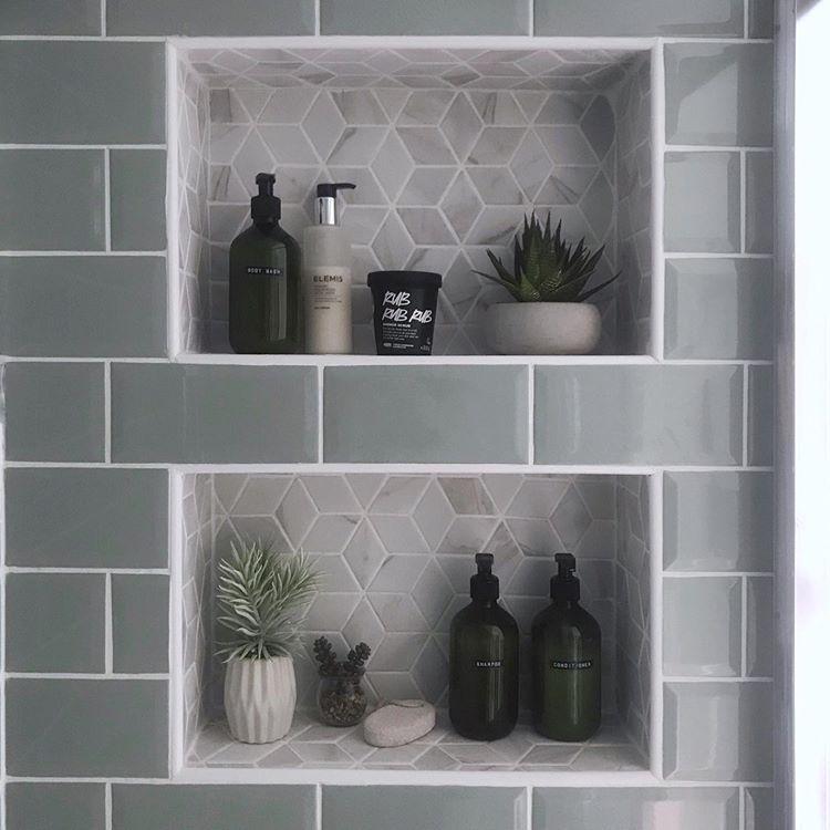 Built In Tiled Shower Shelves Modern Metro And Hexagon Tiles