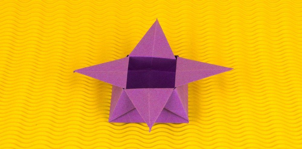 Photo of Kleine Origami Schachtel mit Spitzen falten – Anleitung von Einfach Basteln