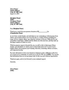 Sample Church Donation Letter  Donation Letter Template