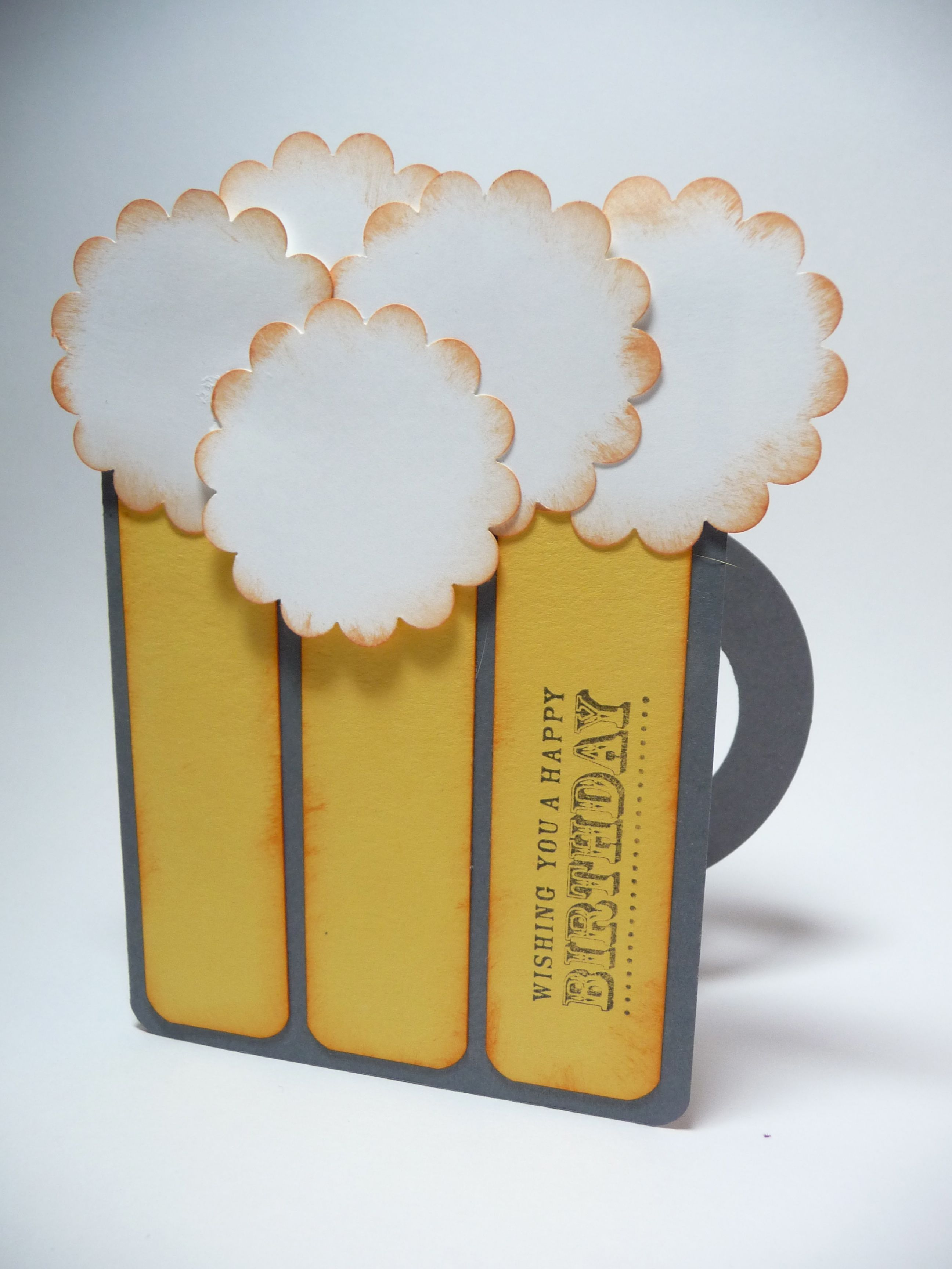 Beer Mug Birthday Card 21st Birthday Hand Stamped Gift For Him