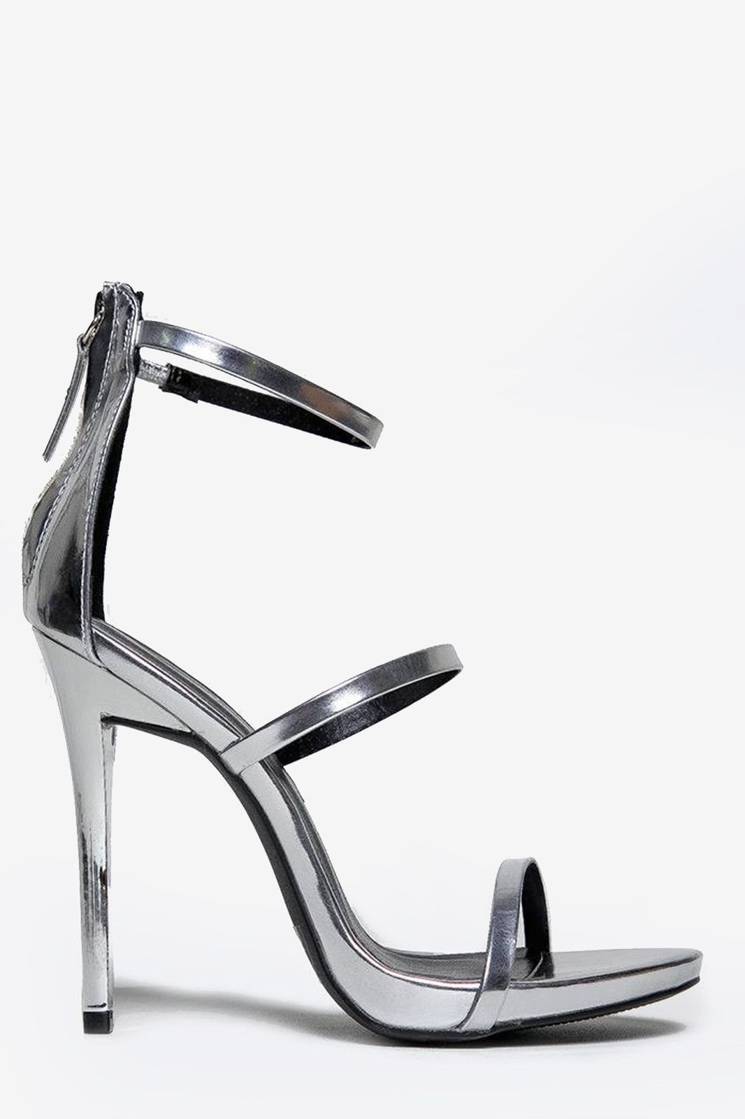 f0511f1887d ITEM    00417 - 3 simple straps on this sandal will make the heads turn! - Silver  heels are perfect for a night-out with it s vegan patent upper and back ...