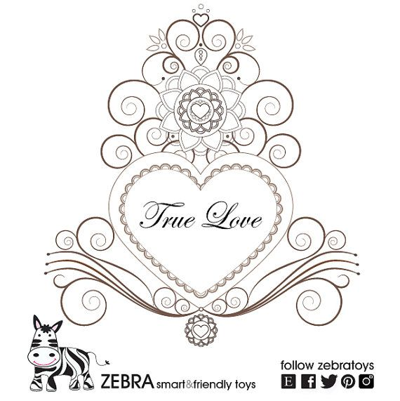 True Love Coloring Page Heart Mandala Printable By Zebratoys