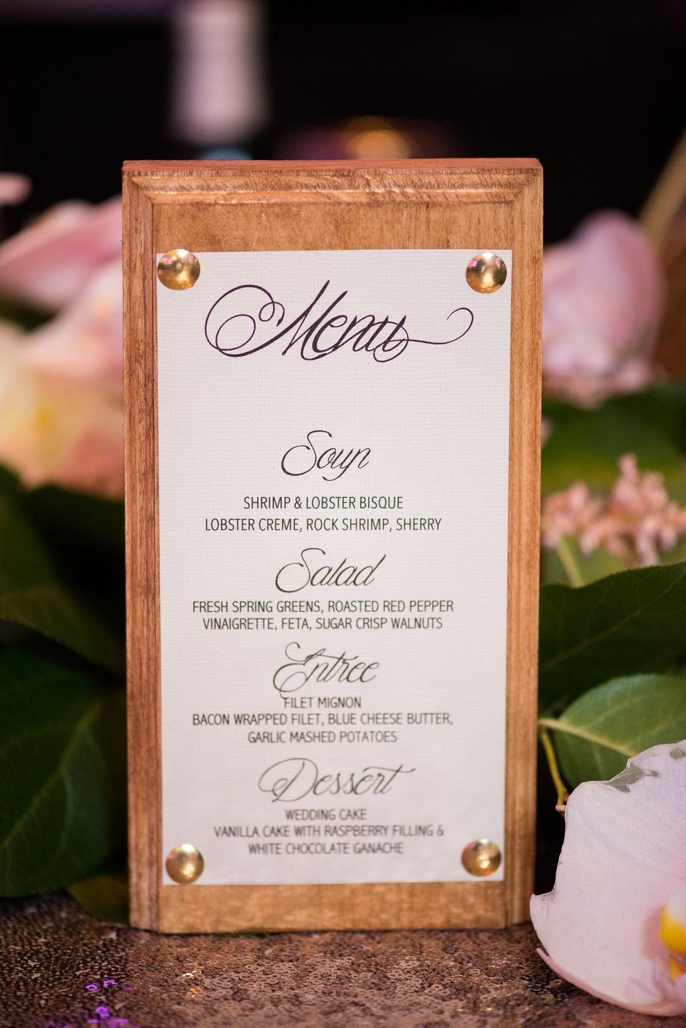 wooden dinner menu, table centerpiece, wedding reception