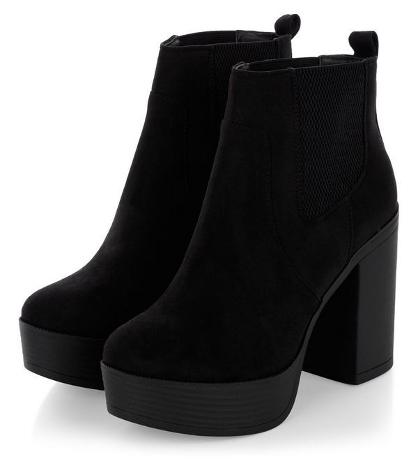 32213e2af9d9 Black Suedette Chunky Block Heel Chelsea Boots | New Look | Clothes ...