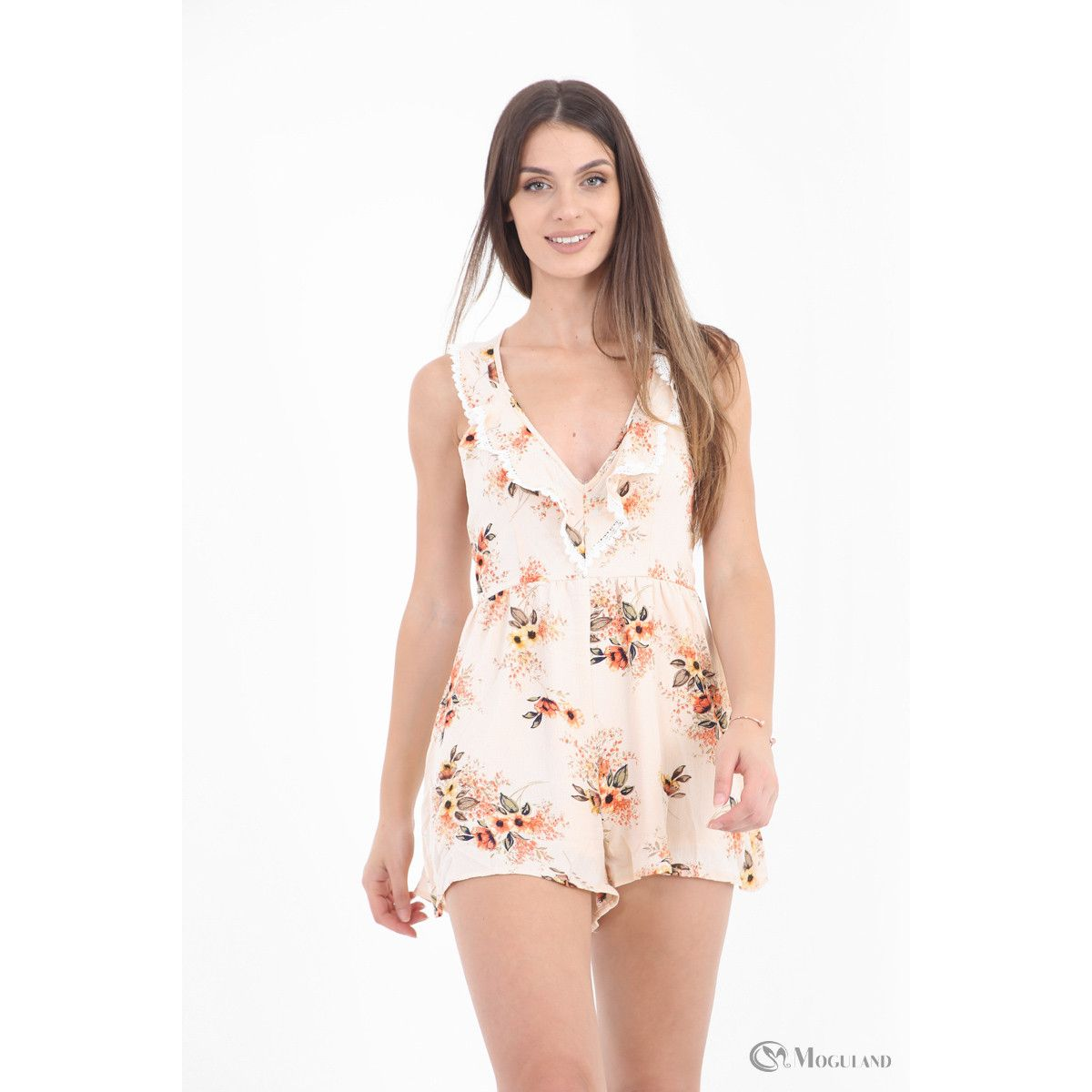 effe9ae01e Ladies apricot floral print frill halternck playsuit wholesale - Women s  Wholesale Clothing Supplier