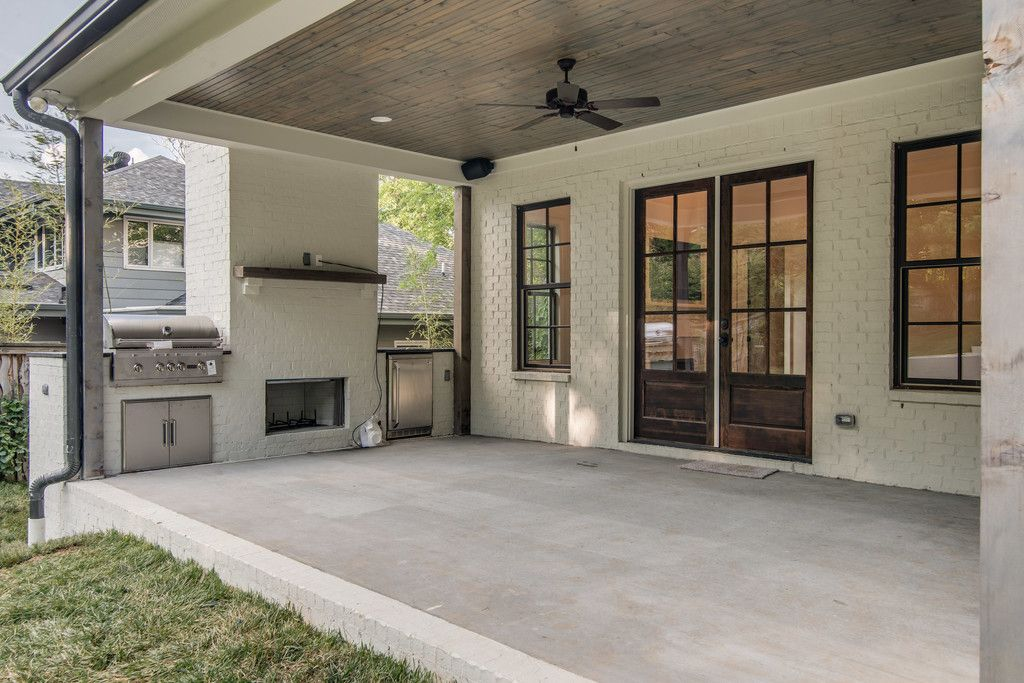 covered porch with outdoor kitchen 4103 Wallace - Vintage ... on Covered Outdoor Kitchen With Fireplace id=33658