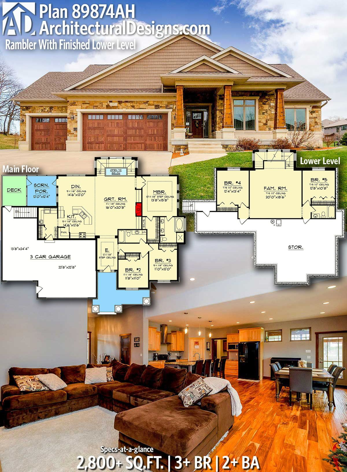 Home Plans Nice Interior And Exterior Home Design With: Plan 89874AH: Rambler With Finished Lower Level