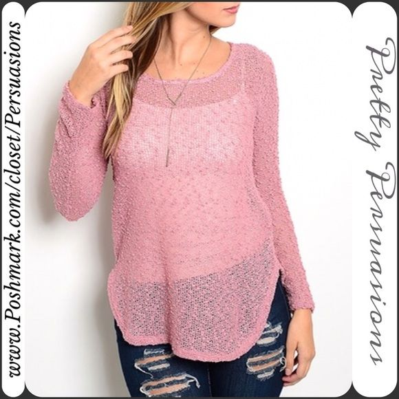 """NWT Rose Pink Sheer Knit Sweater Top NWT Rose Pink Sheer Shimmery Light Knit Sweater Top  Available in sizes: S, M  Measurements taken in inches from a size small:  Length: 28"""" Bust: 35""""  This sweater features a semi sheer design, beautiful dusty rose coloring, rounded neckline, long sleeves, soft material with stretch. Perfect transitional piece which can easily be worn year round! Great for layering!   Bundle discounts available No pp or trades Pretty Persuasions Tops"""
