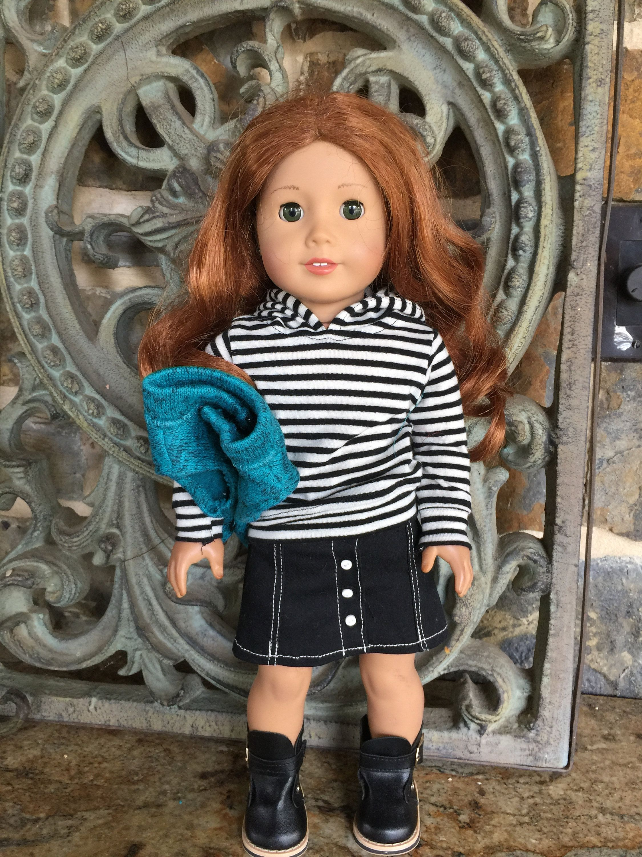 18 inch doll clothes made to fit dolls like the American Girl Doll- black and white stripe hoodie-zippered vest #18inchdollsandclothes